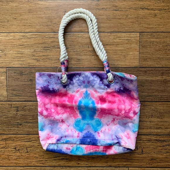 Other - Pink Blue and Purple Tie Dye Rope Tote Bag